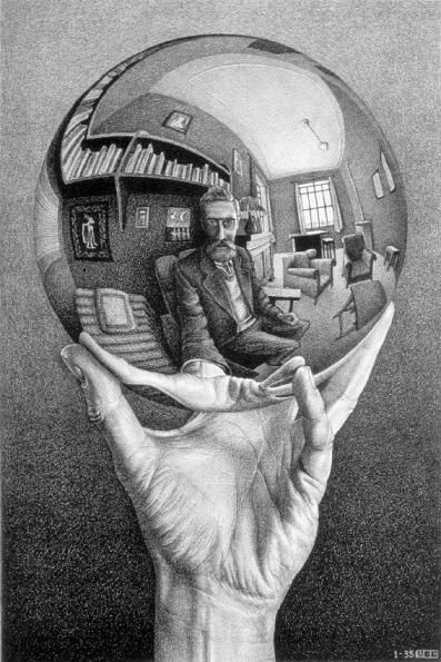 Hand with Reflecting Sphere by M. C. Escher. Lithograph, 1935.
