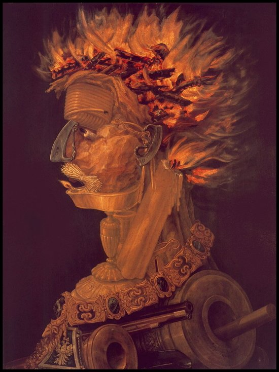 Fire, 1566 - Giuseppe Arcimboldo Public domain ← → Fire Giuseppe Arcimboldo
