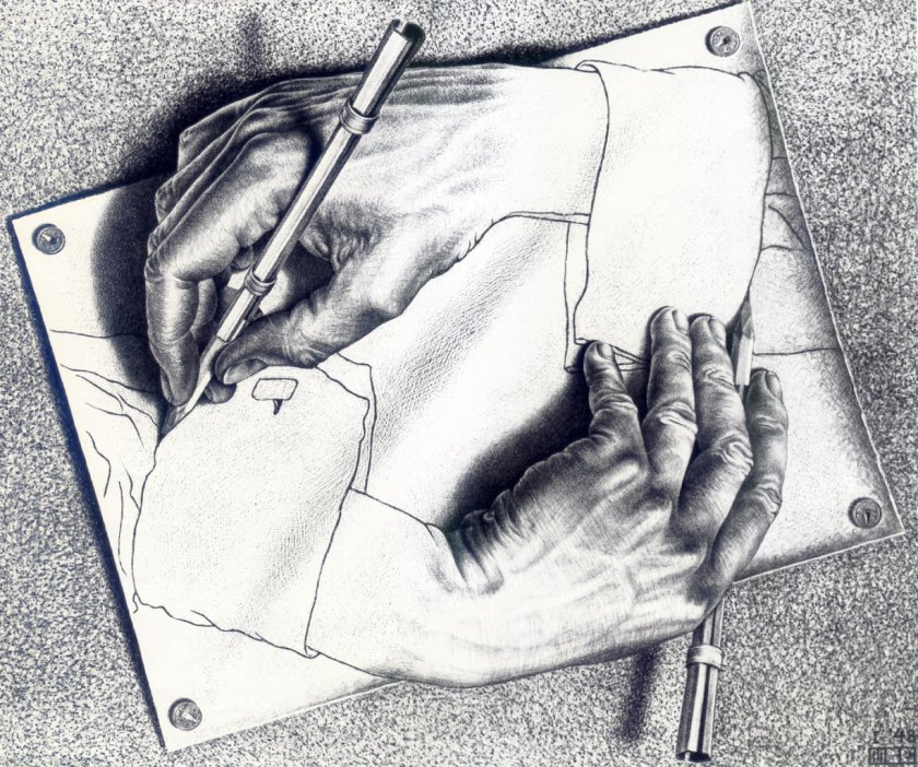M C Escher drawing hands https://www.wikiart.org/en/m-c-escher/drawing-hands